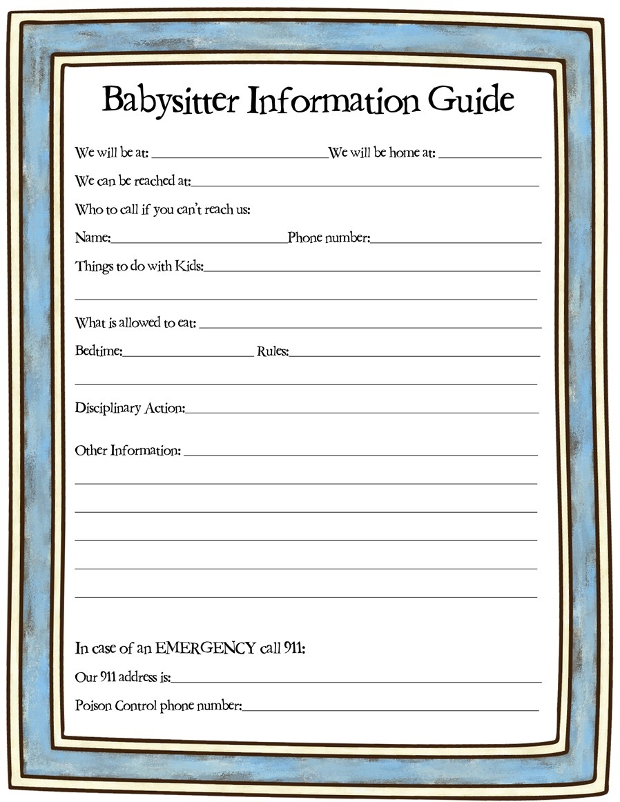 Handy image for babysitter information sheet printable