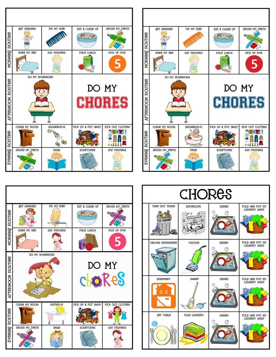 Universal image within chores printable